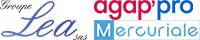 Logos du Groupe LEA, d'AGAP'pro et de Mercuriale